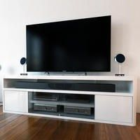 Large White High Gloss TV Unit with Soundbar Shelf - TV's up to 70