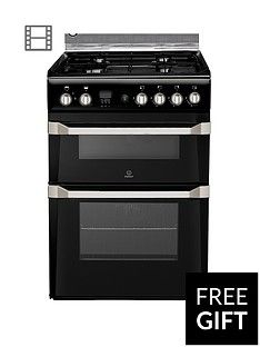 Indesit ID60G2K 60cm Gas Cooker Double Oven with FSD - Black Best Price, Cheapest Prices
