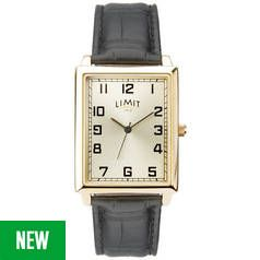 Limit Champagne Dial Mens Black Faux Leather Strap Watch Best Price, Cheapest Prices
