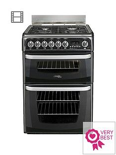 Cannon By Hotpoint CH60GCIK 60cmDouble Oven Gas Cookerand Gas Hob with FSD- Black Best Price, Cheapest Prices