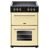 Belling Farmhouse 60E 60cm Double Oven Electric Mini Range Cooker With Ceramic Hob - Cream Best Price, Cheapest Prices