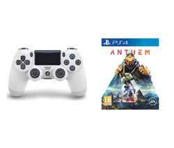PS4 Anthem & DualShock 4 V2 Wireless Controller Bundle - White Best Price, Cheapest Prices