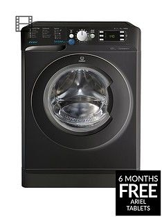 Indesit BWE91484XK 9kg Load, 1400 spin Washing Machine - Black Best Price, Cheapest Prices