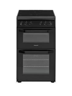 Hotpoint HD5V92KCB 50cmWide Electric Twin Cavity Single Oven Cooker - Black Best Price, Cheapest Prices