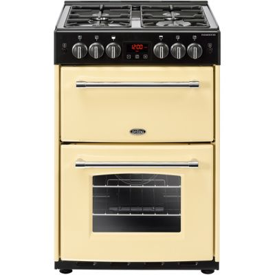 Belling Farmhouse60G 60cm Gas Cooker with Full Width Electric Grill - Cream - A/B Rated Best Price, Cheapest Prices