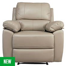 Argos Home Toby Faux Leather Manual Recliner Chair - Grey Best Price, Cheapest Prices