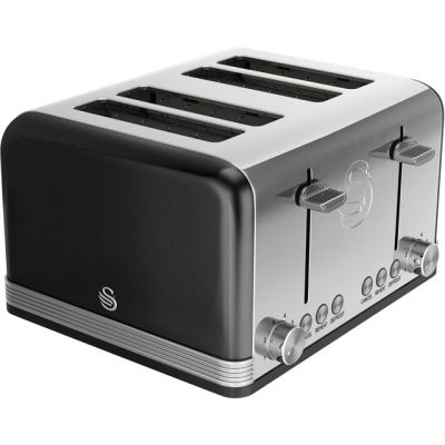 Swan Retro ST19020BN 4 Slice Toaster - Black Best Price, Cheapest Prices