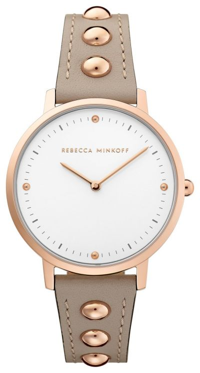 Rebecca Minkoff Ladies Beige Leather Strap Watch Best Price, Cheapest Prices