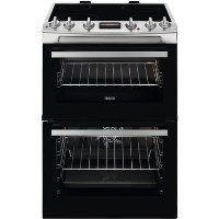 Zanussi ZCV66250XA 60cm Double Oven Electric Cooker With Ceramic Hob - Stainless Steel Best Price, Cheapest Prices