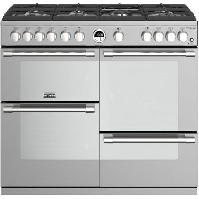 Stoves Sterling Deluxe S1000G 100cm Gas Range Cooker with Electric Grill - Stainless Steel - A/A/A Rated Best Price, Cheapest Prices