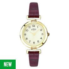 Limit Ladies' Gold Plated Wine Crocodile Effect Strap Watch Best Price, Cheapest Prices