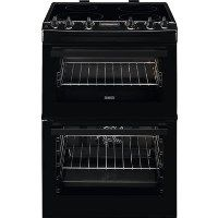 Zanussi ZCI66250BA 60cm Double Oven Electric Cooker With Induction Hob - Black Best Price, Cheapest Prices