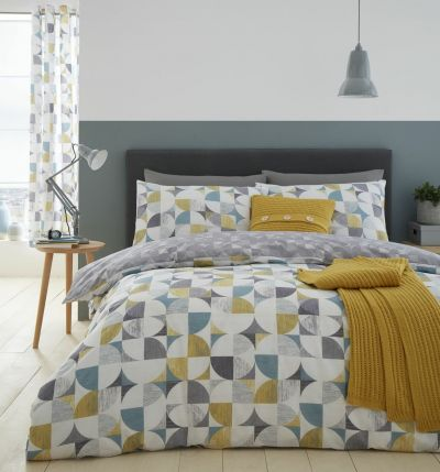 Catherine Lansfield Ochre Retro Circles Bedding Set - Double Best Price, Cheapest Prices