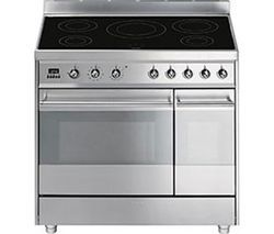 SMEG Symphony 90 cm Electric Induction Range Cooker - Stainless Steel Best Price, Cheapest Prices