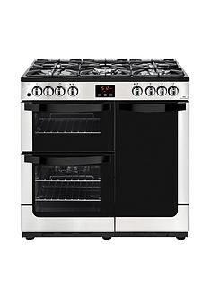 New World Vision90DFTDual Fuel 90cmWide Range Cooker (Stainless Steel) with Connection Best Price, Cheapest Prices