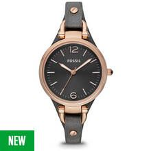 Fossil Georgia Ladies' ES3077 Rose Gold/Smoke Leather Watch Best Price, Cheapest Prices