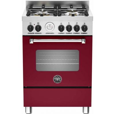 Bertazzoni Master Series MAS60-4-MFE-S-VIE 60cm Dual Fuel Cooker - Burgundy - A Rated Best Price, Cheapest Prices