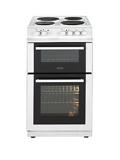 Belling FS50EFDO 50cm Double Oven Electric Cooker with Optional Connection - White Best Price, Cheapest Prices