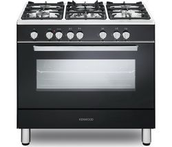 KENWOOD CK306 90 cm Dual Fuel Range Cooker - Black & Chrome Best Price, Cheapest Prices
