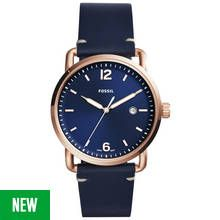 Fossil Commuter Men's Navy Blue Leather Strap Watch Best Price, Cheapest Prices