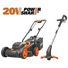 WORX WG927E Cordless 34cm Mower & Trimmer Kit - 2 Batteries Best Price, Cheapest Prices