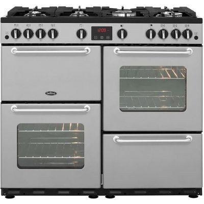Belling SANDRINGHAM100LPG 100cm LPG Range Cooker - Silver - A/A Rated Best Price, Cheapest Prices