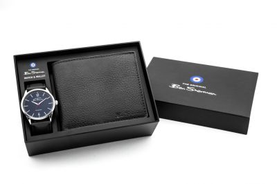 Ben Sherman Men's Black Faux Leather Strap Watch and Wallet Best Price, Cheapest Prices