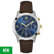 Bulova Men's Two Tone Brown Leather Strap Chronograph Watch Best Price, Cheapest Prices