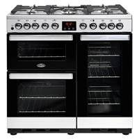 Belling Cookcentre 90DFT Deluxe 90cm Dual Fuel Range Cooker in Stainless Steel Best Price, Cheapest Prices