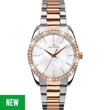 Accurist Ladies' Two Tone Rose Gold Plated Stone Set Watch Best Price, Cheapest Prices