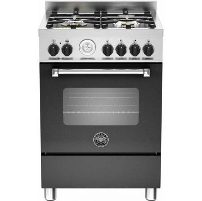Bertazzoni Master Series MAS60-4-MFE-S-NEE 60cm Dual Fuel Cooker - Matt Black - A Rated Best Price, Cheapest Prices