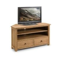 Julian Bowen Coxmoor Solid Oak Corner TV Unit with Storage Shelves & Drawers Best Price, Cheapest Prices