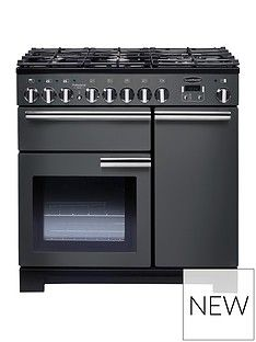 Rangemaster  PDL90DFFSL Professional Deluxe 90cm Wide Dual Fuel Range Cooker - Slate Best Price, Cheapest Prices