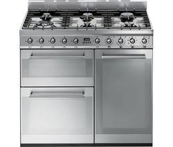 SMEG Symphony 90 cm Dual Fuel Range Cooker - Stainless Steel Best Price, Cheapest Prices