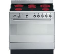 SMEG Concert 90 cm Electric Ceramic Range Cooker - Stainless Steel Best Price, Cheapest Prices
