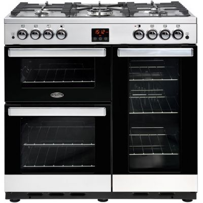 Belling Cookcentre90G 90cm Gas Range Cooker with Electric Fan Oven - Stainless Steel - A/A Rated Best Price, Cheapest Prices