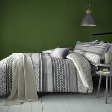 Fusion Retrace Stripe Charcoal Bedding Set - Kingsize Best Price, Cheapest Prices