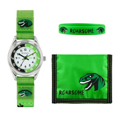 Tikkers Childrens Green Dinosaur Fabric Strap Watch Best Price, Cheapest Prices