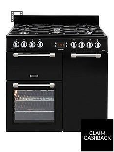 Leisure Ck90G232K Cookmaster 90Cm Wide Gas Range Cooker With Electric Fan Oven - Black Best Price, Cheapest Prices
