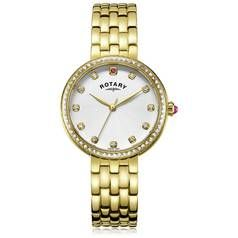 Rotary Ladies' Semi Precious Stone Set Gold Plated Watch Best Price, Cheapest Prices