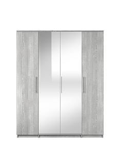 Prague 4 Door Mirrored Wardrobe Best Price, Cheapest Prices