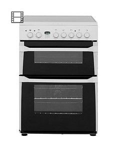 Indesit ID60C2WS 60cm Ceramic Hob Double Oven Electric Cooker - White Best Price, Cheapest Prices