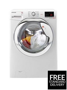 Hoover Dynamic Next Dxoa610Hcw 10Kg Load, 1600 Spin Washing Machine With One Touch - White/Chrome Best Price, Cheapest Prices