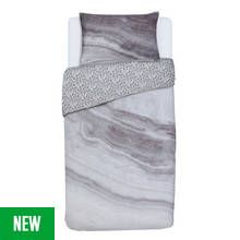 Argos Home Grey Marble Bedding Set - Single Best Price, Cheapest Prices