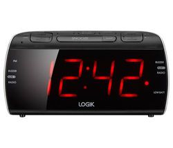 LOGIK LCRB15 FM/AM Clock Radio - Black & Silver Best Price, Cheapest Prices