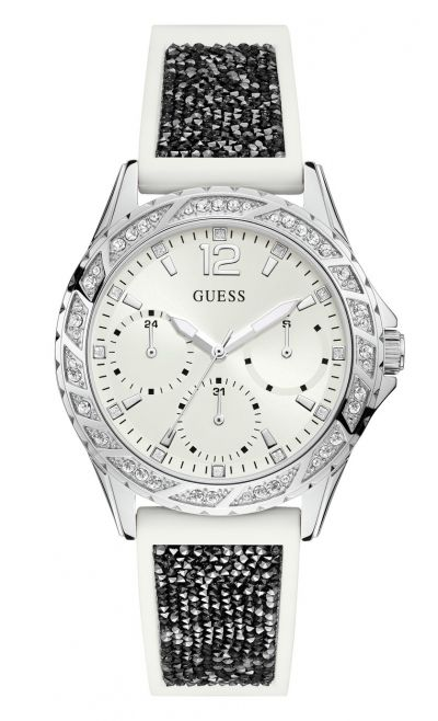 Guess Ladies White Silicone Crystal Set Strap Watch Best Price, Cheapest Prices