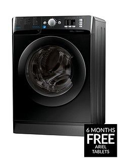 Indesit Innex BWA81683XK 8kg Load, 1600 Spin Washing Machine - Black, A+++ Energy Rating Best Price, Cheapest Prices