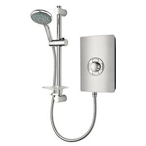 Triton Style Electric Shower - Brushed Steel Effect 9.5kW Best Price, Cheapest Prices