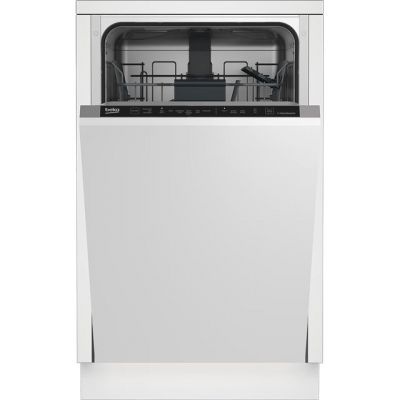 Beko DIS16R10 Fully Integrated Slimline Dishwasher - Silver Control Panel with Fixed Door Fixing Kit - A++ Rated