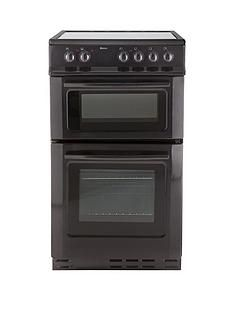 Swan SX2021B 50cm Wide Ceramic Twin Cavity Freestanding Electric Cooker - Black Best Price, Cheapest Prices